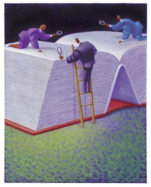 Three businessmen looking at giant book